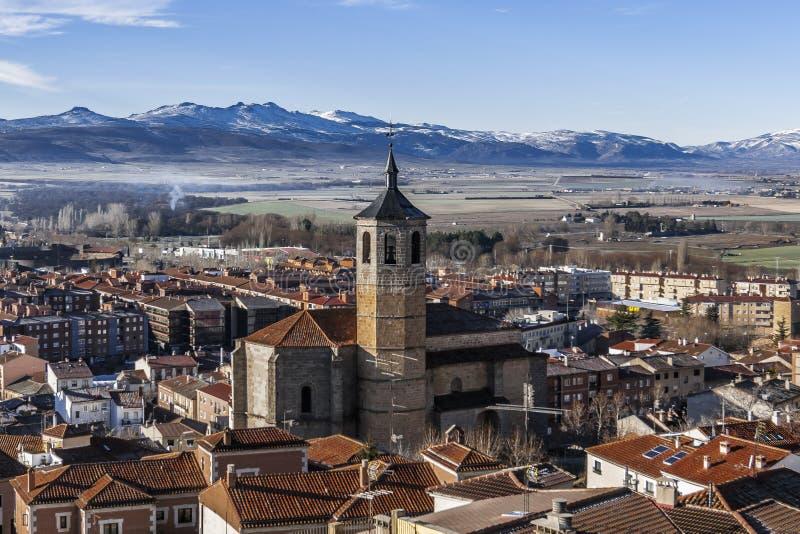 Weergeven buiten de stadsmuren van Avila, Spanje stock afbeelding