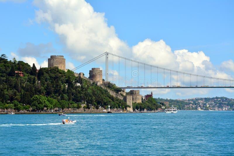 Weergeven en gezicht van Bosphorus, Istanboel, Turkije stock fotografie