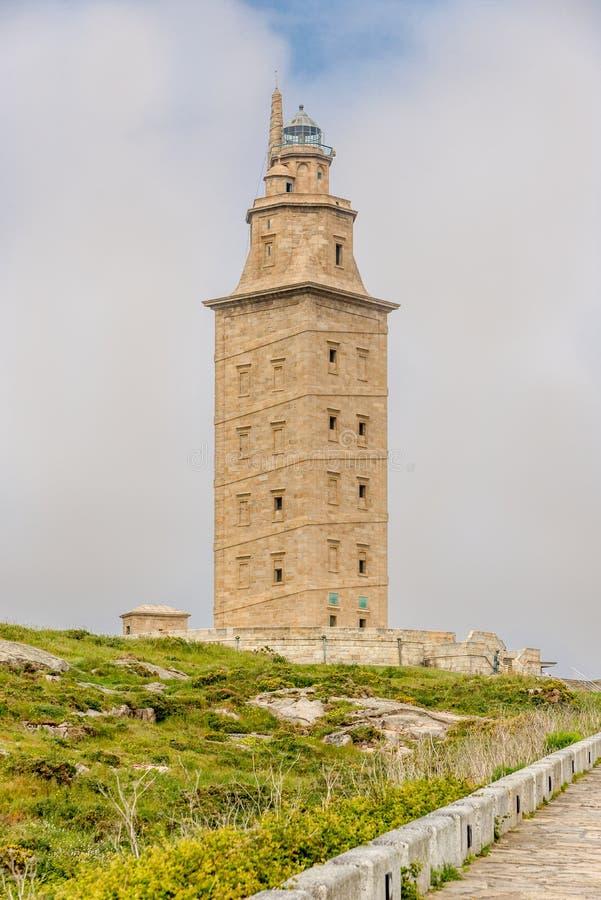 Weergeven in Hercules Tower in een Coruna - Spanje stock afbeelding