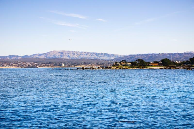 Weergeven naar Monterey-baai van Minnaarspunt, Vreedzaam Bosje, Californië stock afbeeldingen