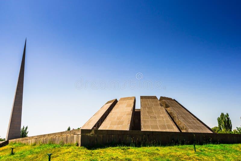 Weergeven op Armeense Volkerenmoord herdenkings complex in Yerevan, Armenië stock foto