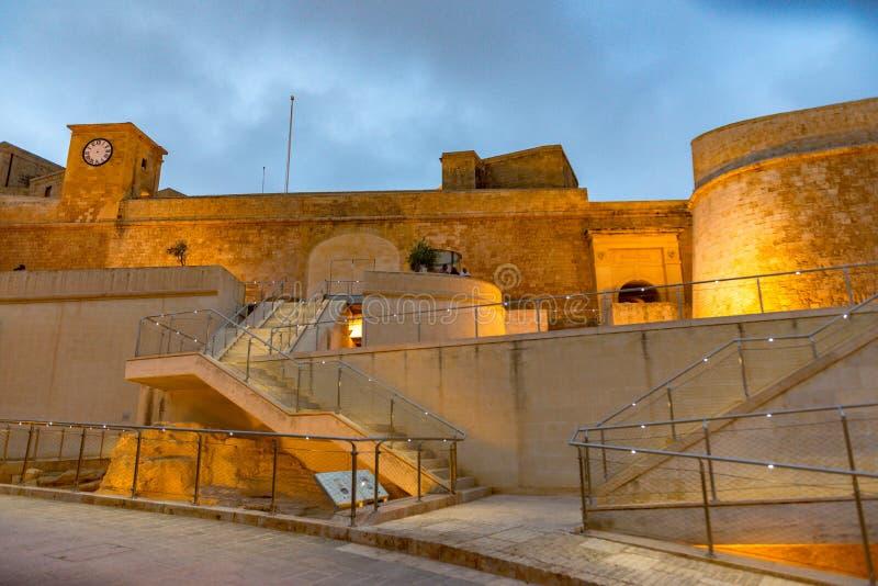 Weergeven op Cittadella, versterkte stad in Victoria Het is op de lijst van Unesco-de Plaatsen van de Werelderfenis stock foto's