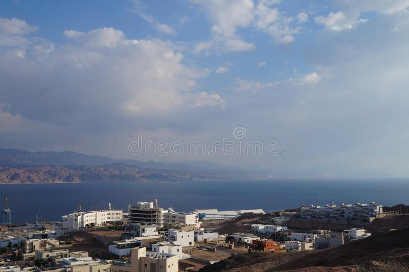 Weergeven op de Eilat-golf stock fotografie