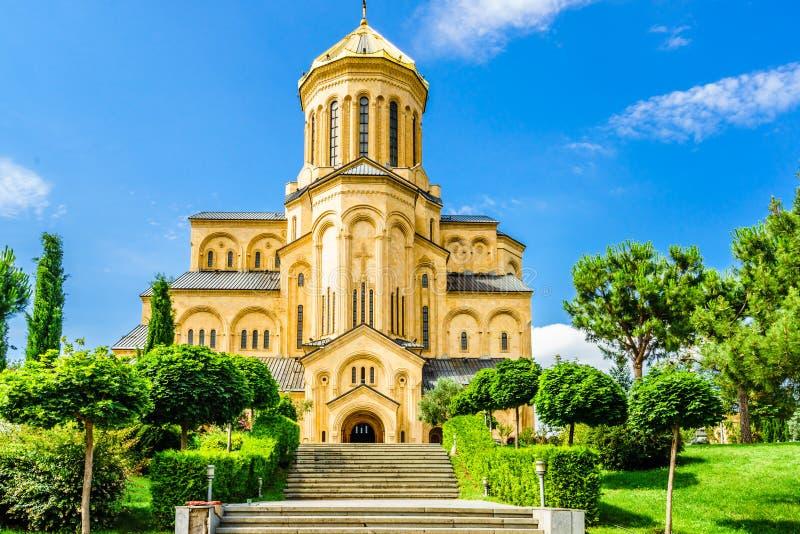 Weergeven op de Heilige Drievuldigheidskathedraal van Tbilisi in Georgië royalty-vrije stock afbeelding