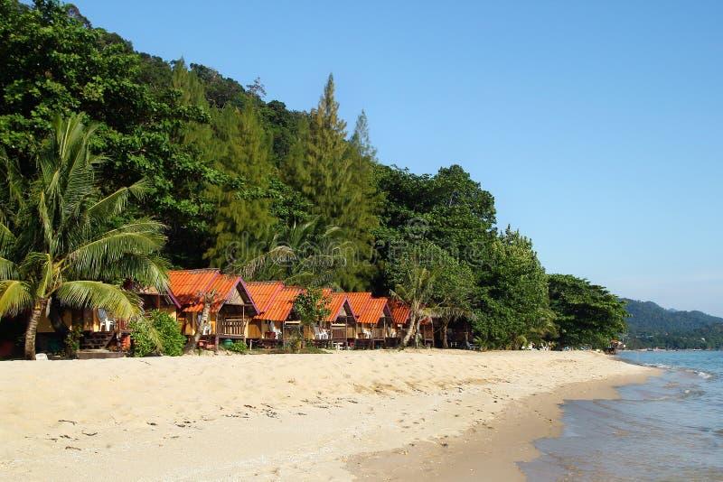 Weergeven op de kleine blokhuizen dichtbij aan het overzees tussen palmen op een achtergrond van regenwoud stock foto