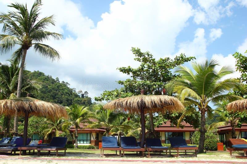 Weergeven op de ligstoelen dichtbij aan het overzees tussen palm op een achtergrond van strandhuizen en blauwe bewolkte hemel royalty-vrije stock foto's