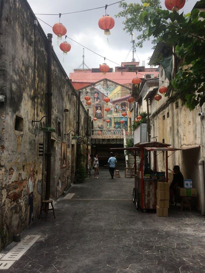 Weergeven op de steeg van Kwai Chai Hong in Kuala Lumpur royalty-vrije stock fotografie