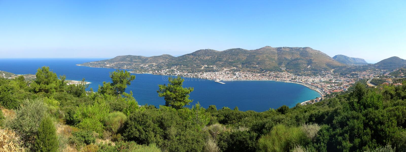 Weergeven op het kapitaal van Samos eiland royalty-vrije stock fotografie