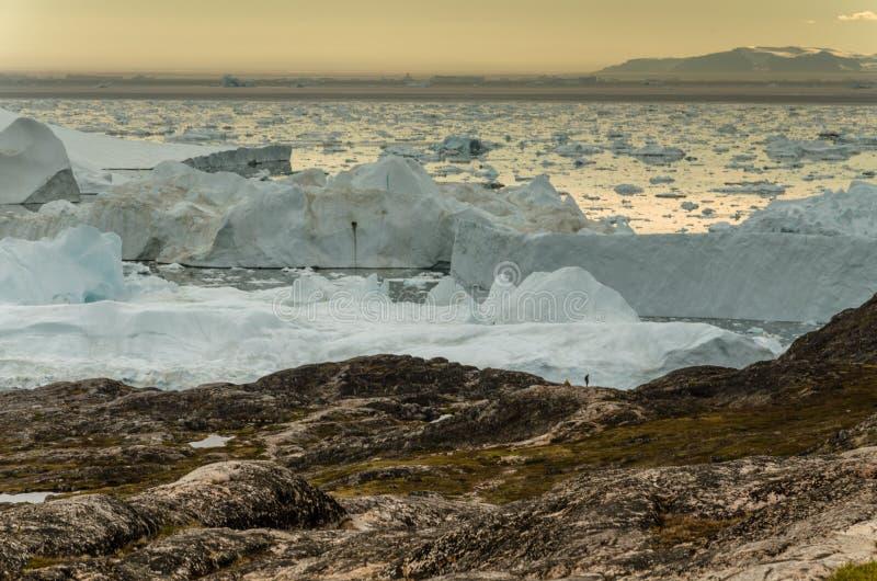 Weergeven op ijsbergen in de mond van Ilulissat Icefjord, Groenland royalty-vrije stock foto's
