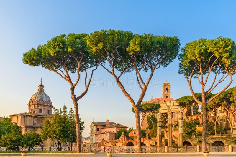 Weergeven op Roman Forum in Rome, Italië Het oriëntatiepunt van Rome en antieke architectuur royalty-vrije stock afbeeldingen
