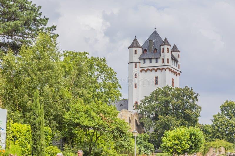 Weergeven op toren van Eltville-kasteel bij rivier Rijn in Duitsland stock foto's