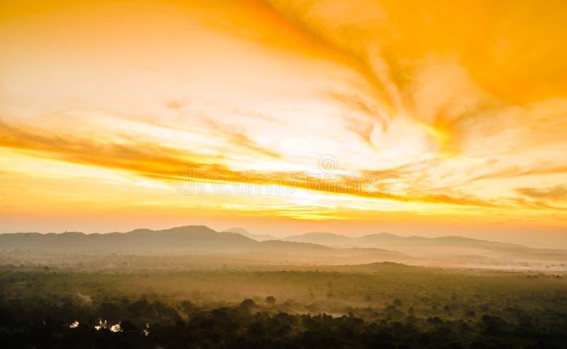Weergeven op zonsopgang over de mistige wildernis van Pidurangala-Rots in Sri Lanka stock foto's