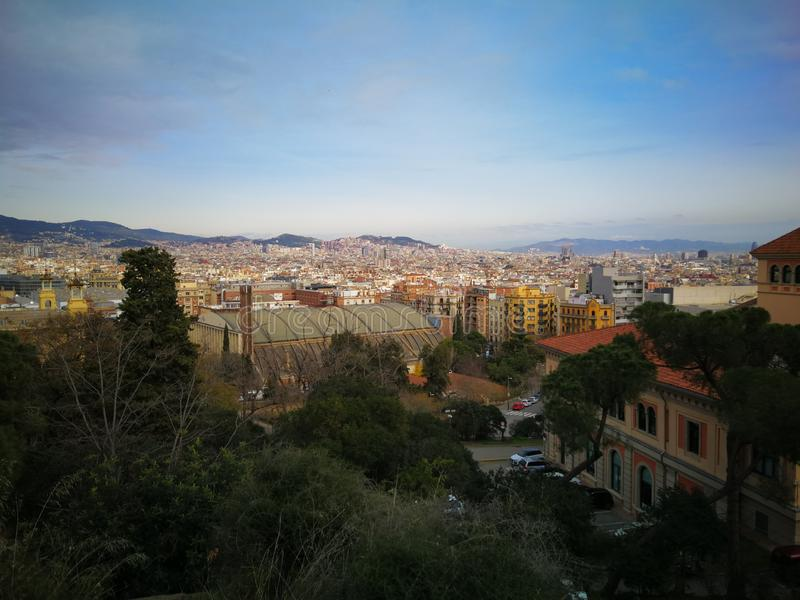 Weergeven over Barcelona in de lente royalty-vrije stock fotografie