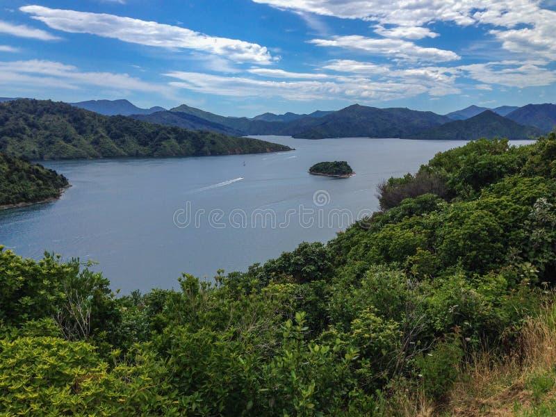 Weergeven over de baai van Picton-Haven, Zuideneiland van Nieuw Zeeland stock foto's