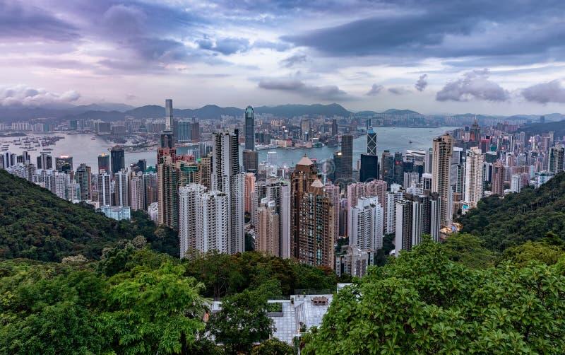 Weergeven over Victoria Harbour en Centraal in Hong Kong royalty-vrije stock fotografie
