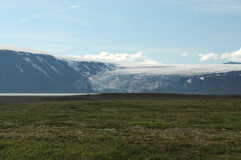 Weergeven over wijd vlakke groene vlakte op gletsjer die uit tussen een hiaat van bergen komen - IJsland royalty-vrije stock afbeelding