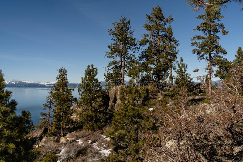 Weergeven van Aard rond Meer Tahoe in wintertijd, Nevada, de V.S. royalty-vrije stock foto's