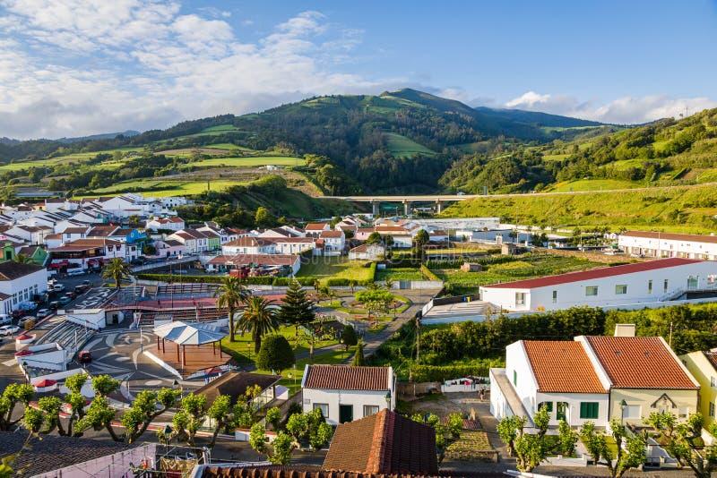 Weergeven van Agua DE Pau in het zuiden van Sao Miguel Island, de Azoren stock fotografie