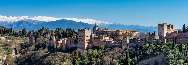Weergeven van Alhambra Palace in Granada, Spanje in Europa stock afbeelding