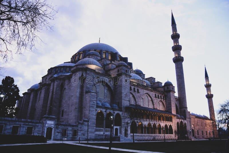Weergeven van binnenlandse binnenplaats van Suleymaniye-Moskee De lokale en buitenlandse toeristen komen de moskee zien en wat va royalty-vrije stock afbeelding