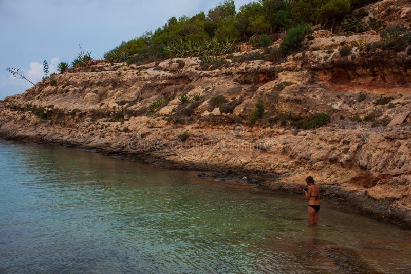 Weergeven van Cala Greca strand, Lampedusa stock afbeelding