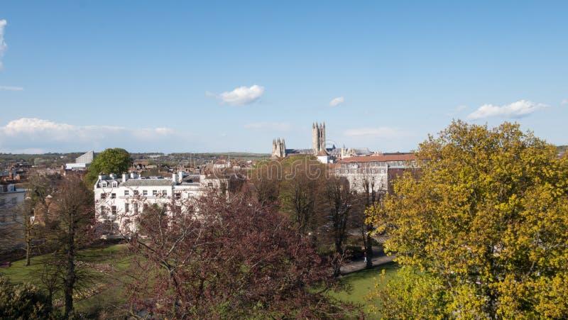 Weergeven van Canterbury, Kent, het UK met kathedraal in afstand stock foto