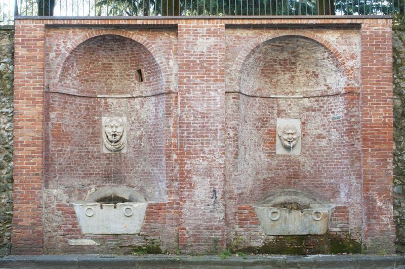 Weergeven van Carrara, Toscanië - Italië: de fontein van grote deimascheroni van maskersfontana royalty-vrije stock afbeeldingen