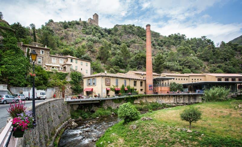 Weergeven van Cathar-Kasteel in Lastours royalty-vrije stock afbeeldingen