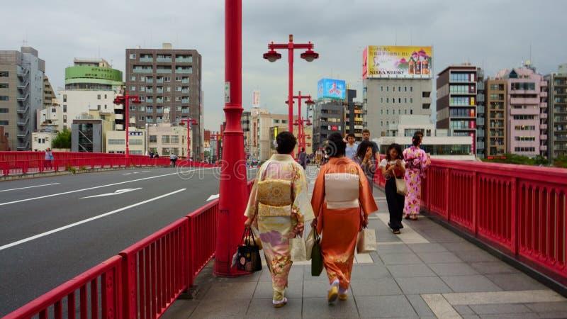 Weergeven van cityscape rond Azumabashi-Brug Mensen in verschillende kleren, leeftijd, nationaliteit stock foto's