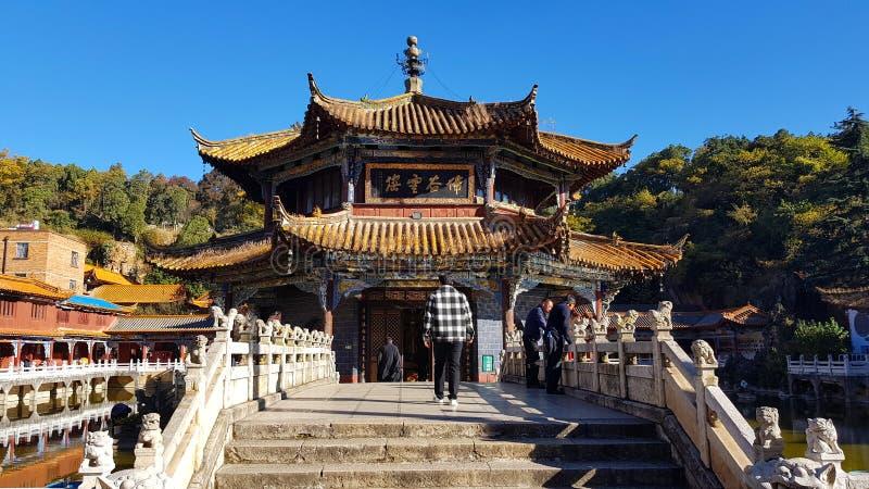 Weergeven van de Boeddhistische Tempel van Yuantong in Kunming, Yunnan, China stock foto's