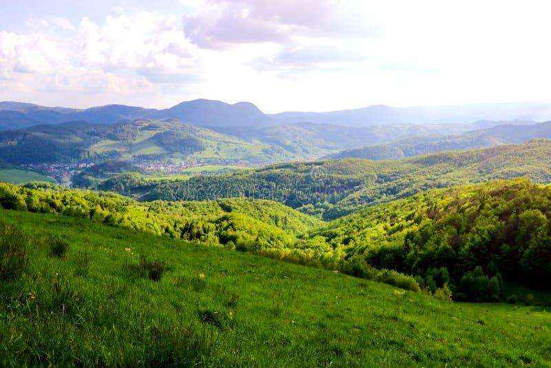Weergeven van de groene heuvels van de bergen in Slowakije op de grens met Polen stock fotografie