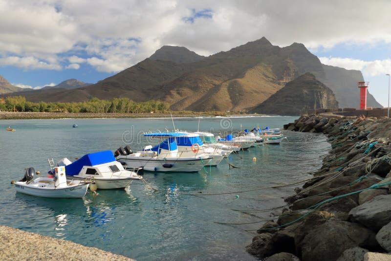 Weergeven van de haven en beach puerto DE La aldea van het Dorp van San Nicolas in Gran Canaria, Spanje royalty-vrije stock foto's