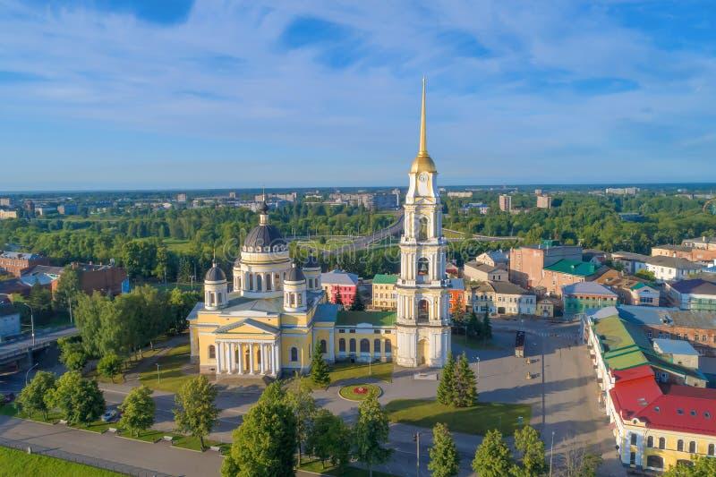 Weergeven van de Heilige luchtfotografie van de Transfiguratiekathedraal Rybinsk, Rusland royalty-vrije stock afbeelding