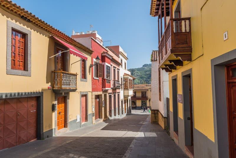 Weergeven van de historische straat van Teror, Gran Canaria, Spanje royalty-vrije stock foto's