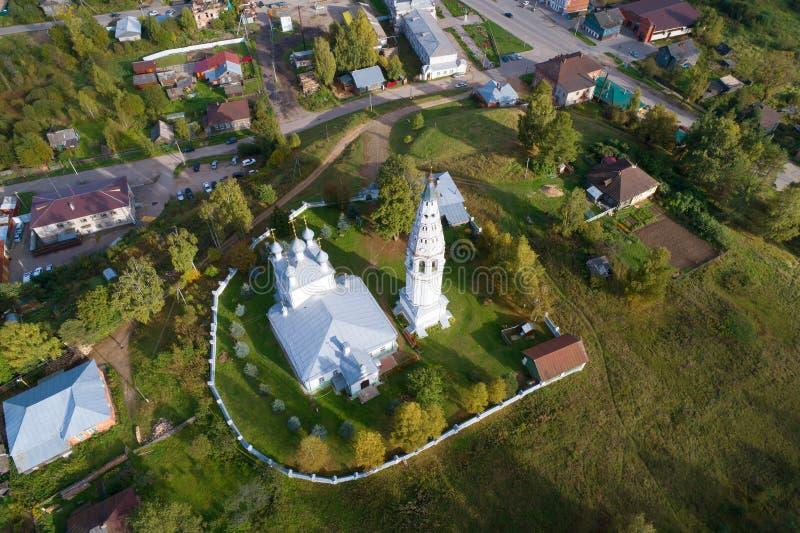 Weergeven van de hoogte van het luchtonderzoek van de Transfiguratiekathedraal Sudislavl, Rusland stock foto