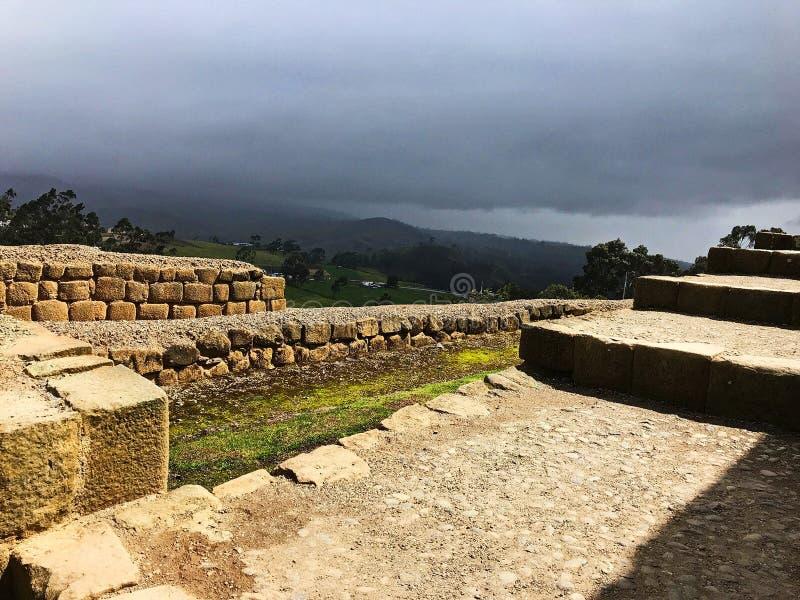 Weergeven van de kant van de Oude Ruïnes van Ingapirca, Ecuador stock fotografie