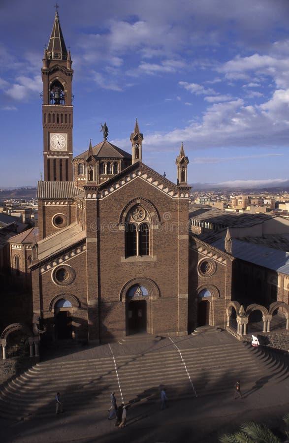 Weergeven van de kathedraal van Asmara, Eritrea royalty-vrije stock fotografie
