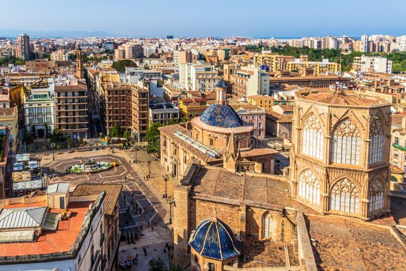Weergeven van de Kathedraal Santa Maria van Valencia, Spanje royalty-vrije stock afbeeldingen