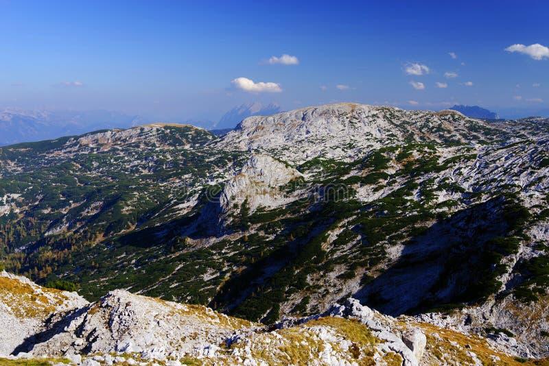 Weergeven van de Oostenrijkse Alpen van de Krippenstein-Berg, Obertraun, Oostenrijk stock afbeeldingen