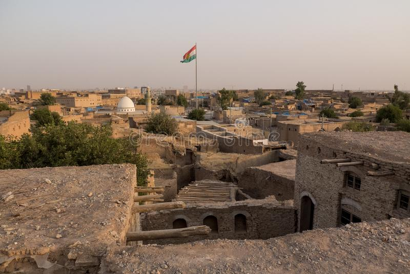 Weergeven van de oude Citadel van Erbil in Iraaks Koerdistan Juli 2013 royalty-vrije stock afbeelding