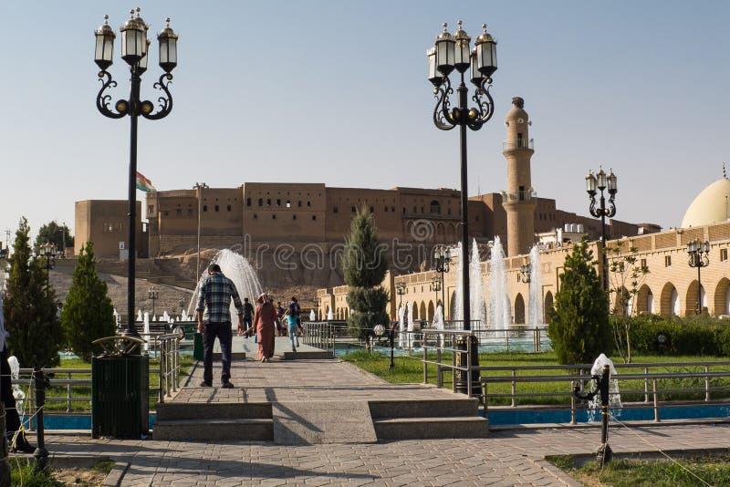 Weergeven van de oude Citadel van Erbil in Iraaks Koerdistan Juli 2013 stock foto's