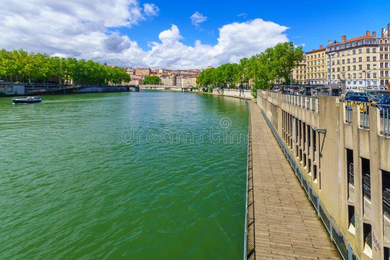Weergeven van de Saone-rivier, in Lyon royalty-vrije stock foto