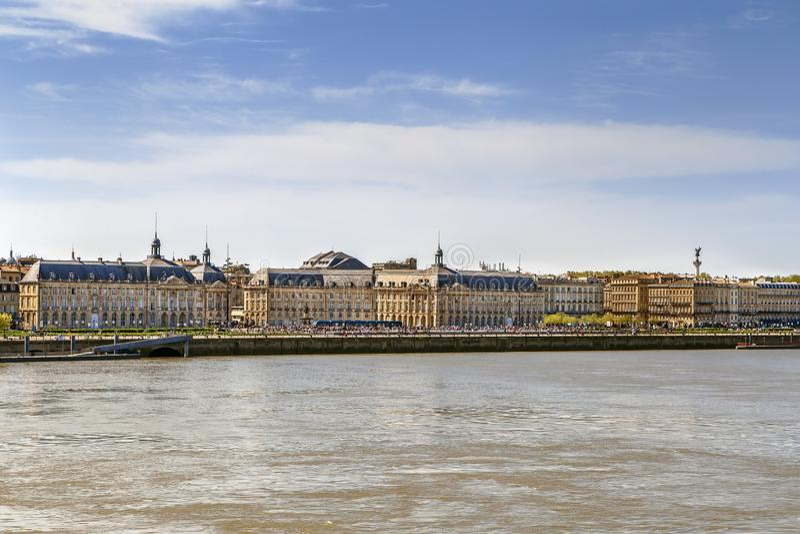 Weergeven van de stadscentrum van Bordeaux, Frankrijk royalty-vrije stock fotografie
