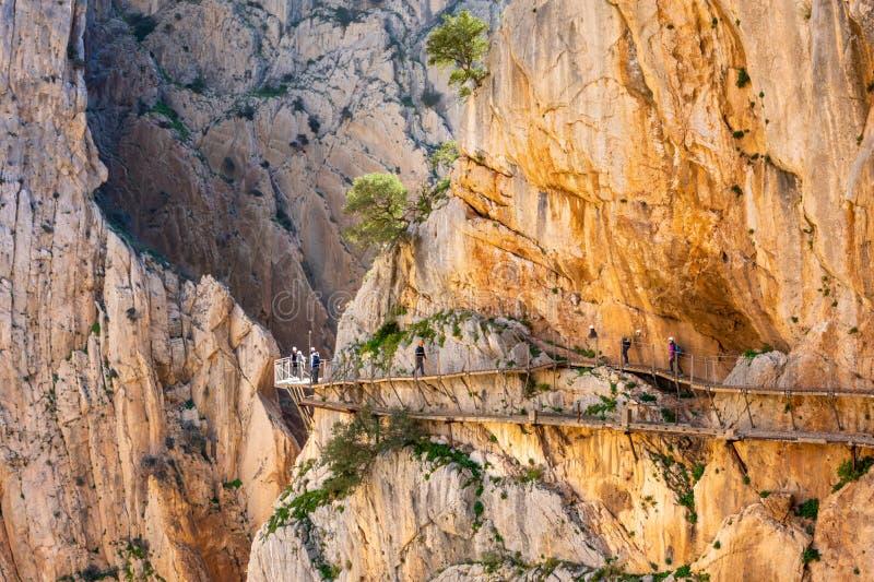 Weergeven van de toeristische attractie Malaga, Spanje van Gr Caminito del Rey stock foto's