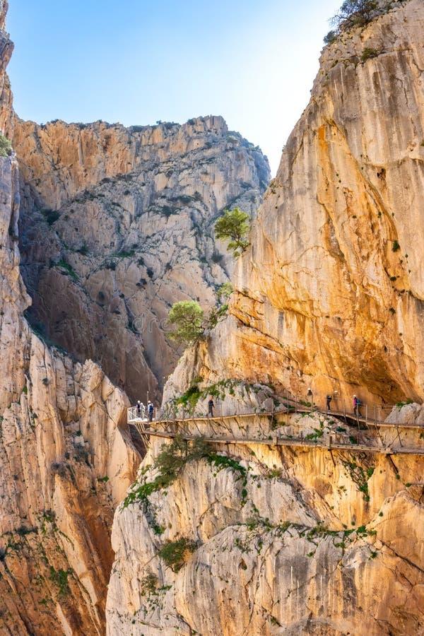 Weergeven van de toeristische attractie Malaga, Spanje van Gr Caminito del Rey stock foto