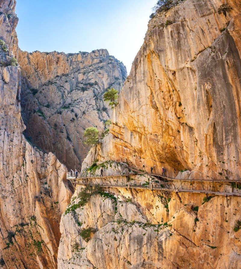 Weergeven van de toeristische attractie Malaga, Spanje van Gr Caminito del Rey stock fotografie