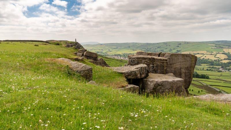 Weergeven van de Top van Wainman, dichtbij Motorkap, North Yorkshire, Engeland, het UK royalty-vrije stock fotografie