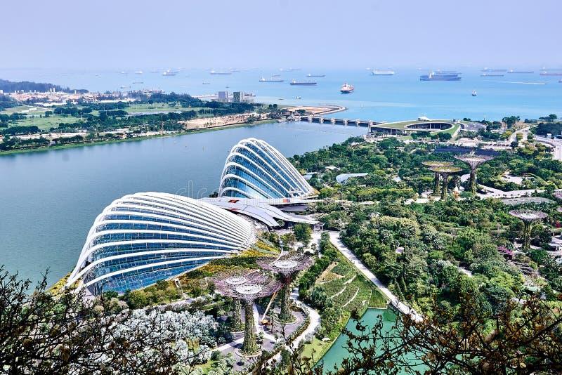 Weergeven van de Tuinen door de Baai en de Bloemkoepel van de hoogten van een hotel wordt gezien dat stock foto
