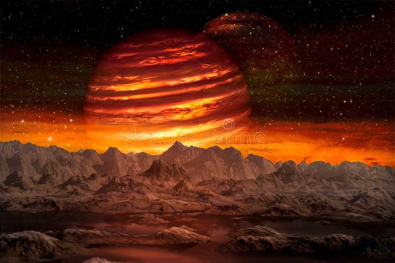 Weergeven van de vreemde planeet van ruimte tijdens zijn twee manenstijging stock illustratie