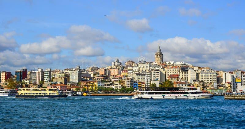 Weergeven van de waterkant van Istanboel stock afbeelding